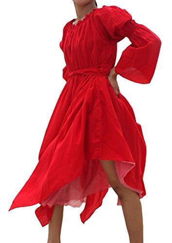 Raan Pah Muang Brand Medieval Serving Wench Cotton Renaissance Dress, Medium, Red ()