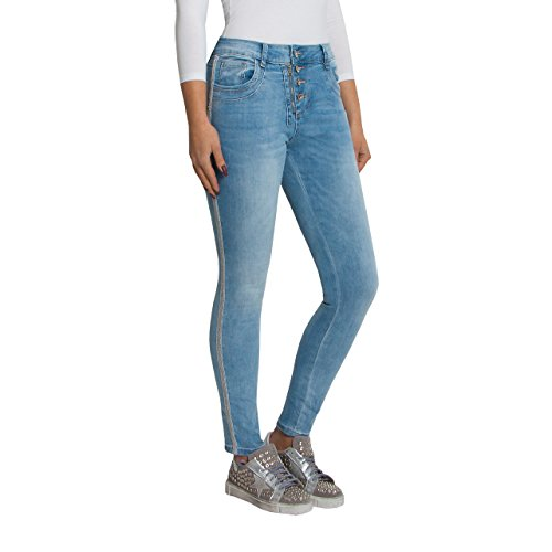 SKUTARI Jeans chic donna Stretch Loose Fit, Jeans Boyfriend con bottoni, chiusura lampo, in denim Blau 2