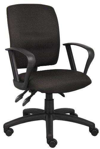 Boss Office Products B3037-BK Multi-Function Fabric Task Chair With Loop Arms in Black ()