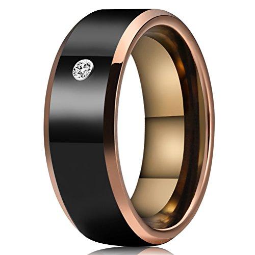Three Keys Jewelry 8mm Tungsten Wedding Ring Black CZ Inlay Rose Gold Edge Wedding Band Engagement Ring