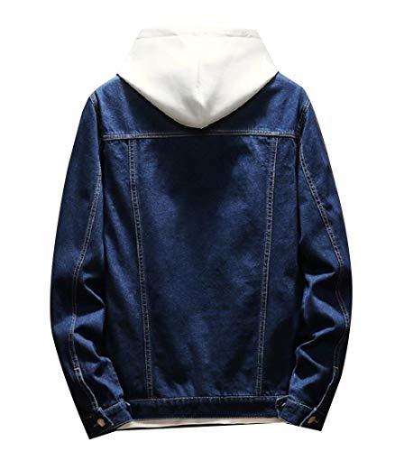 Rkbaoye Pulsante Giacca Blu Denim Couverture Lavato Tasca Collare Uomini Cappotto Petto rq4wEZr