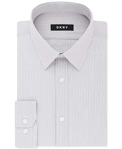 DKNY Mens Slim Fit Striped Stretch Dress Shirt Gray 15 1/2