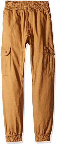 Southpole Boys' Big Boys' Jogger Pants Washed Ripstop Fabric with Cargo Pockets, Wheat, Large