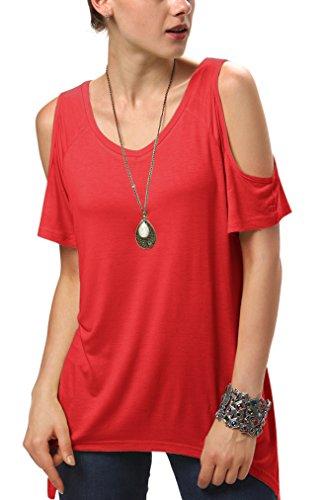 (Urban CoCo Women's Vogue Shoulder Off Wide Hem Design Top Shirt - Small - Red)