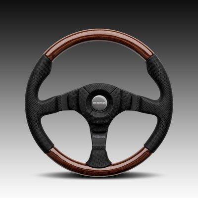 Leather Prototipo - MOMO Steering Wheel Dark Fighter Wood Black Leather 350mm Genuine VDFIGHTER35W