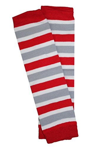 Kids/Baby/Toddler/Infants Red, Grey and White Team Striped Leg Warmers (Red And White Striped Leg Warmers)