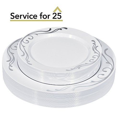 Plastic Plates Set 50-Piece Service for 25 Disposable Plates Combo Include: 25 Dinner Plates & 25 Dessert or Salad Plates for Wedding, Parties, Catering & Everyday Use (Silver Scroll) -Stock Your Home