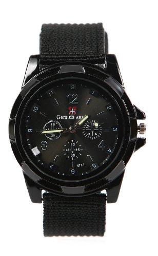 shot-in Mens Boys Sports Military Black Nylon Band Quartz Wrist Watch (Black)