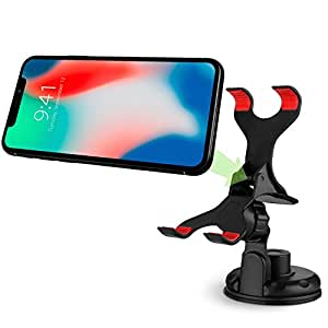 Car Phone Mount, Vena Clip-Grip 360 Degree Strong Suction Cup Car Mount Holder for iPhone XR/XS/XS MAX/X (10)/8/8 Plus/7/7 Plus, Galaxy S9/S9 Plus Note 9/8 S8/S8 Plus, Moto G6/G6 Play/G6 Plus/G5/G5 Plus, LG V30 G6, Google 3/ 3 XL/XL/ 2/2 XL (Up to 90mm Wide)