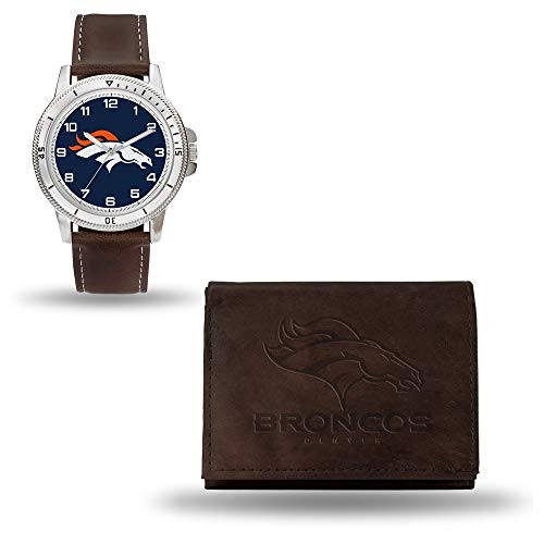 Nfl Sport Watch Mens (NFL Denver Broncos Men's Watch and Wallet Set, Brown, 7.5 x 4.25 x 2.75-Inch)