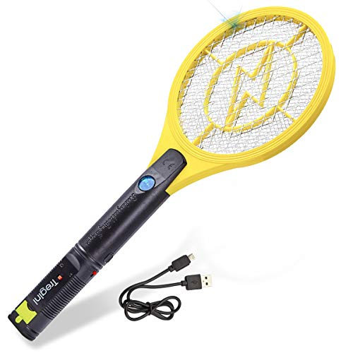 Tregini Mini Electric Fly Swatter – Rechargeable Bug Zapper Tennis Racket with Safe to Touch Mesh Net and Built-in Flashlight - Kills Insects, Gnats, Mosquitoes and Bugs