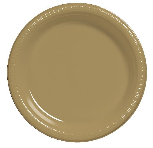 Creative Converting Touch of Color 20 Count Plastic Banquet Plates, Glittering Gold