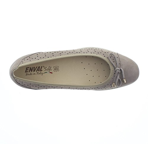 7938 TAUPE Scarpa donna decolletè zeppa Enval soft pelle made in Italy
