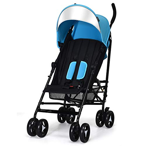 INFANS Lightweight Baby Umbrella Stroller, Foldable Infant Travel Stroller with Carry Belt, 4 Position Recline, Adjustable Backrest, UV Protection Canopy, Cup Holder, Storage Basket (Light Blue)