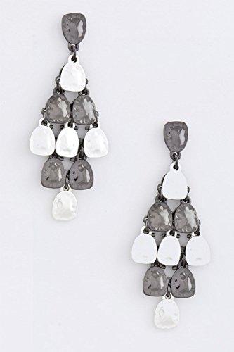 KARMAS CANVAS HAMMERED METAL CLUSTER EARRINGS (Trifari Hematite Earrings)