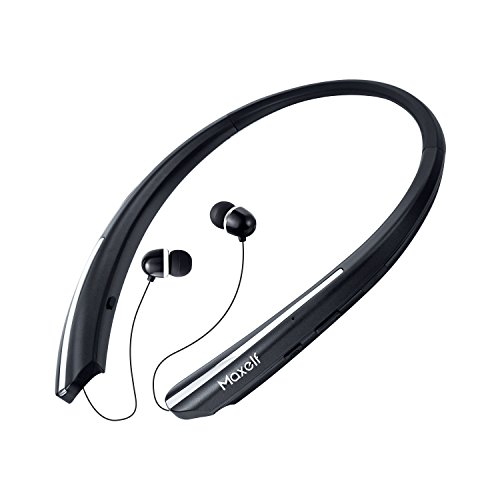 Maxelf Wireless Headphones, Retractable Earbuds Ultra Lightweight Sport Sweatproof Bluetooth 4.1 Headset Noise Cancelling Stereo Earphones IPX4 Built-in Mic Earphones for iOS Android Windows Phone