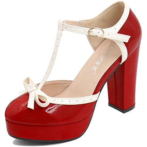 Allegra K Women Bow T-Strap Chunky Heel Ankle Strap Pumps (Size US 9) Red