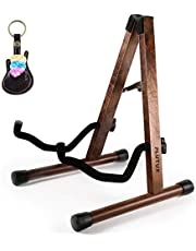 Wooden Guitar Stand Acoustic Guitar Stand Floor, Electric Guitar Stand, Bass Guitar Stand with Foam Paded for Cello/Mandolin/Banjo/Ukulele Stand with Black Walnut