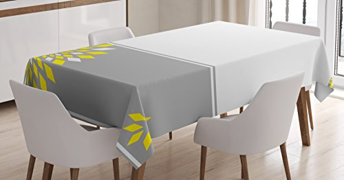 Ambesonne Grey and Yellow Tablecloth, Modern Futuristic Border with Geometric Flower Frame, Dining Room Kitchen Rectangular Table Cover, 60 W X 84 L Inches, Grey Marigold
