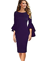 Womens Ruffle Bell Sleeves Business Cocktail Party Sheath...