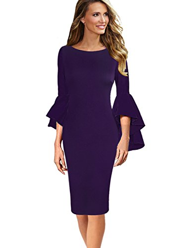 VFSHOW Womens Ruffle Bell Sleeves Business Cocktail Party Sheath Dress 1396 PUP M Purple