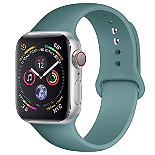 AMATOP10 Sport Band Compatible with Apple Watch 38MM 40MM 42MM 44MM, Soft Silicone Sport Loop Replacement Wrist Strap for iWatch Series 5/4/3/2/1 (Cactus, 38/40MM S/M)