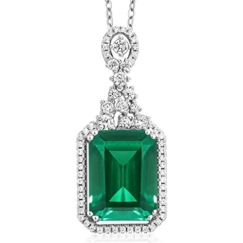 Gem Stone King Sterling Silver Green Simulated Emerald Pendant Necklace 7.10 cttw Emerald Cut 14X10MM with 18 Inch Silver Chain (Green Stone Pendant Necklace)