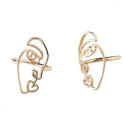 Face Ring - Mrotrida Abstract Face Ring Unique Creative Contour Shape Art Finger Rings for Women Teen Girls Party 1 Pair Gold
