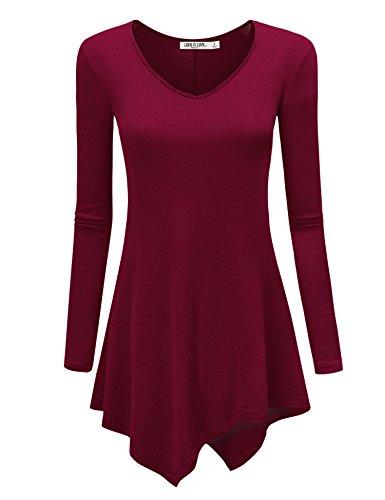 WT960 Womens V Neck Long Sleeve Tunic Top With Asymmetrical Hem S ()