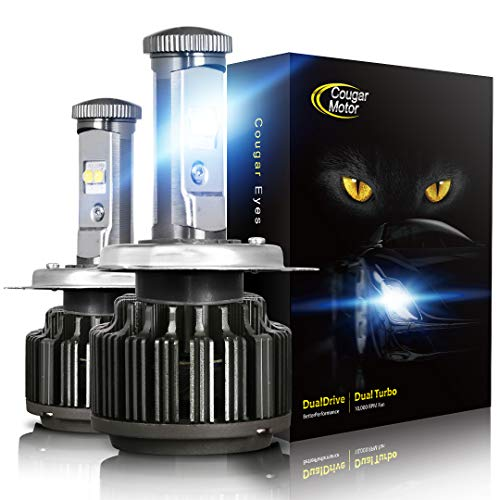 Cougar Motor H4 LED Headlight Bulbs, 9003 High/Low All-in-One Conversion Kit, 7200 Lumen (6000K Cool White) - Adjustable Beam Pattern ()