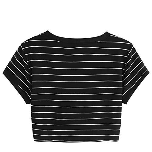 19a8fd0256c Jual SweatyRocks Women s Short Sleeve Striped Crop T-Shirt Casual ...