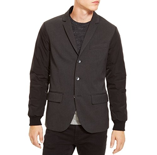 Kenneth Cole Reaction Nylon-Sleeve Three-Button Blazer Black 42 (Medium) -
