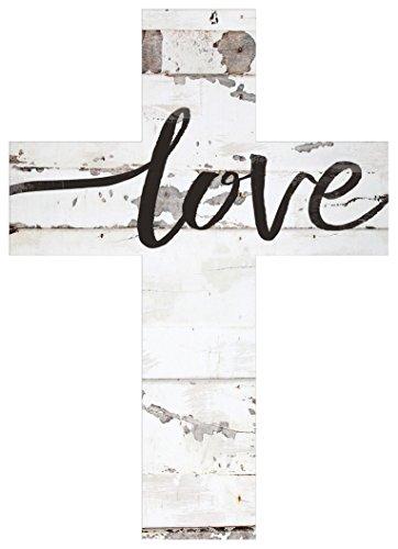 P. Graham Dunn Love Script Rustic Whitewash 5 x 7 Solid Pine Wood Wall Hanging Cross