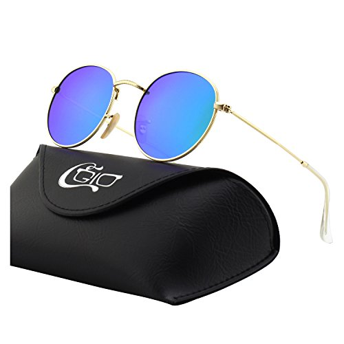 CGID E47 Retro Vintage Style John Lennon Inspired Circular Circle Metal Rimmed Round Polarized Sunglasses Goggles Shades for Men and Women with Gift Package