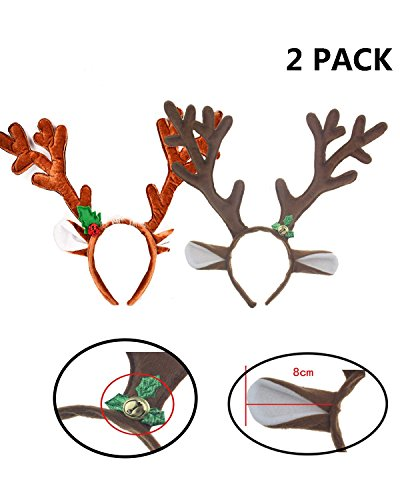 - DoTebpa 2 Pcs Christmas and Holiday Party Reindeer Antlers Headband, Headwear Hair Hoop