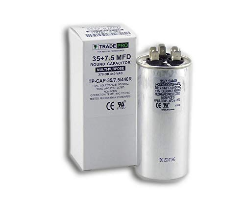 (35 + 7.5 mfd Dual Capacitor, Industrial Grade Replacement for Central Air-Conditioners, Heat Pumps, Condenser Fan Motors, and Compressors. Round Multi-Purpose 370/440 Volt - by Trade Pro)