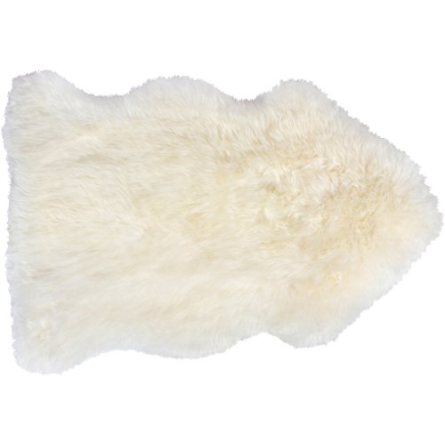 Genuine Sheepskin Rug (2ft x 3ft) Authentic New Zealand Single Pelt Real Sheep Fur Throw - Comes With Wool Slicker Brush - Natural White Color - Perfect For Motorbike Seats, Car Seats and Saddles - New Zealand Sheepskin Rugs