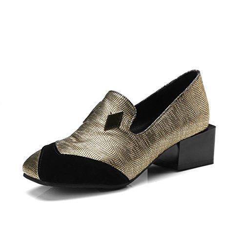 Tête MEI Femmes Chaussures Profond Peu Bloc Golden carré Talons Bouche LSM amp;S Z8w5Fnq