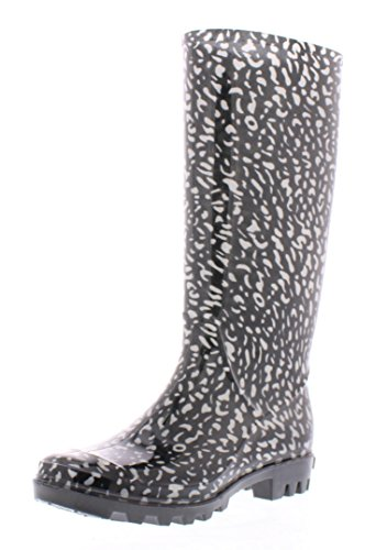 Marilyn Monroe Women's Basic Tall Rainboot Shoes, Waterproof Jelly Rubber Boots Jelly Rubber Boots Black/White Cheetah Print 10 US