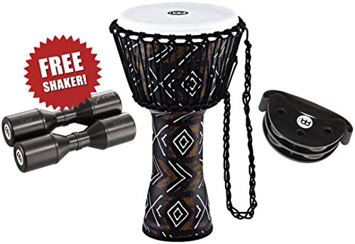 Meinl Percussion Djembe Bundle with Foot Tambourine and Free Shaker, Travel Series - NOT MADE IN CHINA - All Weather Head/Shell, 2-YEAR WARRANTY, 10