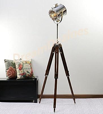 Dream Dezine Classic Theatre Spot Light with Solid Wooden Tripod - Floor Lamp Vintage/Retro