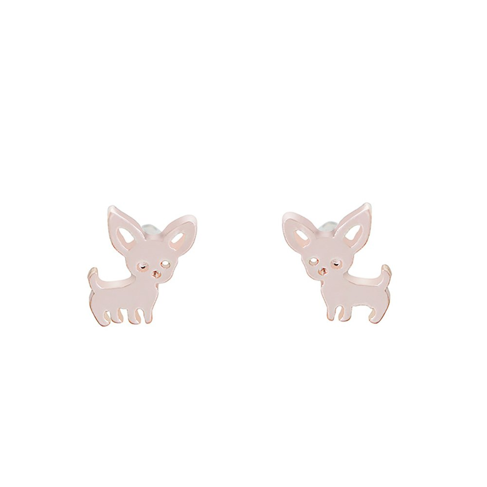 Love Dream Cute Chihuahua Puppy Dog Stud Earrings for Women Girls Dog Lovers Jewelry
