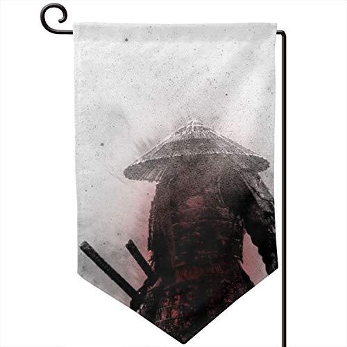 Garden Flags Samurai Pattern Wall Lawn Banner Double