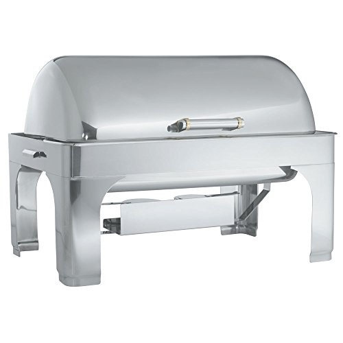 - Vollrath 46255 9 Qt. New York, New York Retractable Dripless Chafer Full Size with Brass Trim