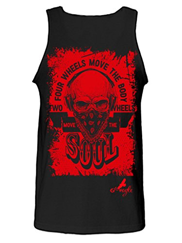 Gs-eagle Men's Printed Two Wheels Move the Soul Skull Motorcycle Graphic Tank Top Xlarge Black
