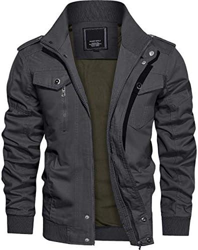 アウトドア カーゴジャケット メンズ フライトジャケット アメリカン ミリタリージャケット 無地 ファッション ブルゾン 立ち襟 マルチポケット 綿