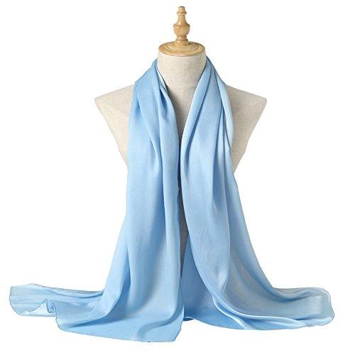 Bellonesc Silk Scarf 100% silk Long Lightweight Sunscreen Shawls for Women (light blue)