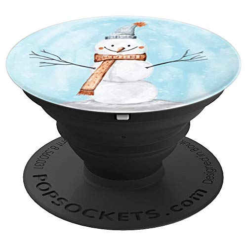 Watercolor Snowman - Watercolor Snowman Funny Christmas Winter Holiday Festive - PopSockets Grip and Stand for Phones and Tablets