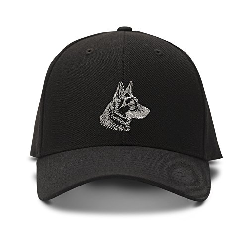 German Shepherd Head Dog Embroidery Adjustable Structured Baseball Hat Black