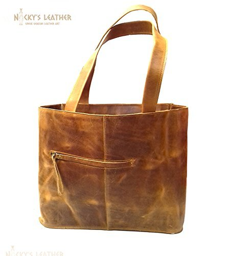 LEATHER TOTE BAG,Leather Shopping Bag from Real Full Grain Leather 100% Handmade by Nickys Leather